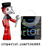 Red Plague Doctor Man Server Administrator Doing Repairs