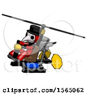 May 24th, 2018: Red Plague Doctor Man Flying In Gyrocopter Front Side Angle Top View by Leo Blanchette