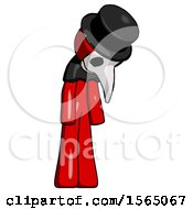 May 24th, 2018: Red Plague Doctor Man Depressed With Head Down Turned Right by Leo Blanchette