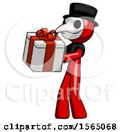 Red Plague Doctor Man Presenting A Present With Large Red Bow On It