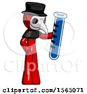 Red Plague Doctor Man Holding Large Test Tube