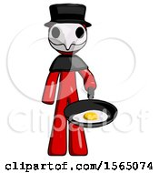 Red Plague Doctor Man Frying Egg In Pan Or Wok