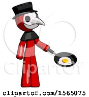 Red Plague Doctor Man Frying Egg In Pan Or Wok Facing Right