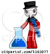 Red Plague Doctor Man Holding Test Tube Beside Beaker Or Flask