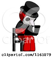 May 24th, 2018: Red Plague Doctor Man Using Laptop Computer While Sitting In Chair Angled Right by Leo Blanchette