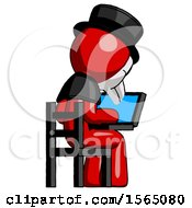 May 24th, 2018: Red Plague Doctor Man Using Laptop Computer While Sitting In Chair View From Back by Leo Blanchette