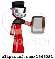 May 24th, 2018: Red Plague Doctor Man Showing Clipboard To Viewer by Leo Blanchette