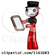 Red Plague Doctor Man Reviewing Stuff On Clipboard
