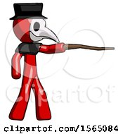 Red Plague Doctor Man Pointing With Hiking Stick