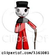 Red Plague Doctor Man Standing With Hiking Stick