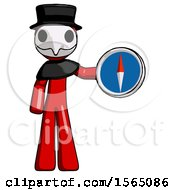 Red Plague Doctor Man Holding A Large Compass