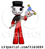 Red Plague Doctor Man Holding Jester Diagonally