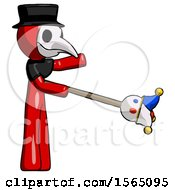 Red Plague Doctor Man Holding Jesterstaff I Dub Thee Foolish Concept