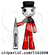 Red Plague Doctor Man Standing With Large Thermometer