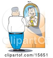 Businessman Putting A Tie On While Standing In Front Of A Mirror Clipart Illustration