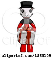 Red Plague Doctor Man Gifting Present With Large Bow Front View