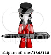Red Plague Doctor Man Weightlifting A Giant Pen