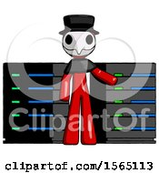 Red Plague Doctor Man With Server Racks In Front Of Two Networked Systems