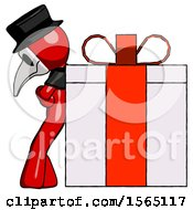 Red Plague Doctor Man Gift Concept Leaning Against Large Present