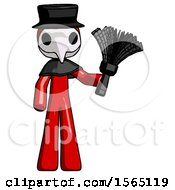 Red Plague Doctor Man Holding Feather Duster Facing Forward