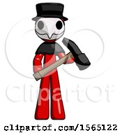 Red Plague Doctor Man Holding Hammer Ready To Work