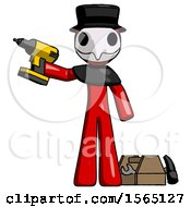 Red Plague Doctor Man Holding Drill Ready To Work Toolchest And Tools To Right
