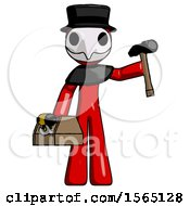 Red Plague Doctor Man Holding Tools And Toolchest Ready To Work