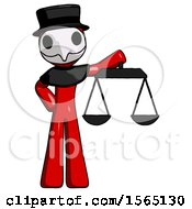 Red Plague Doctor Man Holding Scales Of Justice