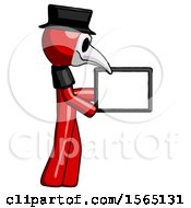 Red Plague Doctor Man Show Tablet Device Computer To Viewer Blank Area