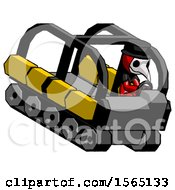Red Plague Doctor Man Driving Amphibious Tracked Vehicle Top Angle View