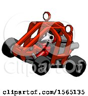 Red Plague Doctor Man Riding Sports Buggy Side Top Angle View