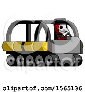Red Plague Doctor Man Driving Amphibious Tracked Vehicle Side Angle View