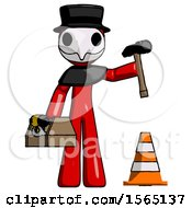 Red Plague Doctor Man Under Construction Concept Traffic Cone And Tools