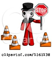 Red Plague Doctor Man Holding Stop Sign By Traffic Cones Under Construction Concept
