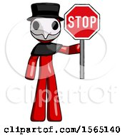 Red Plague Doctor Man Holding Stop Sign