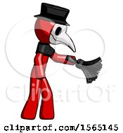 Red Plague Doctor Man Dusting With Feather Duster Downwards