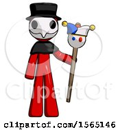 Red Plague Doctor Man Holding Jester Staff