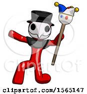 May 24th, 2018: Red Plague Doctor Man Holding Jester Staff Posing Charismatically by Leo Blanchette