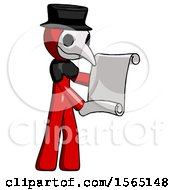 Red Plague Doctor Man Holding Blueprints Or Scroll
