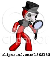 Red Plague Doctor Man Inspecting With Large Magnifying Glass Right