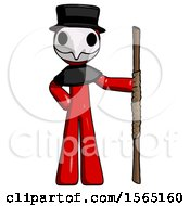 May 24th, 2018: Red Plague Doctor Man Holding Staff Or Bo Staff by Leo Blanchette