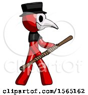 May 24th, 2018: Red Plague Doctor Man Holding Bo Staff In Sideways Defense Pose by Leo Blanchette