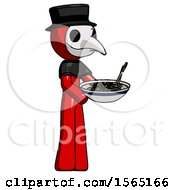 Red Plague Doctor Man Holding Noodles Offering To Viewer