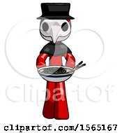 Red Plague Doctor Man Serving Or Presenting Noodles