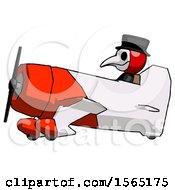 Red Plague Doctor Man In Geebee Stunt Aircraft Side View
