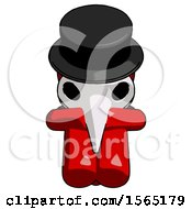 May 24th, 2018: Red Plague Doctor Man Sitting With Head Down Facing Forward by Leo Blanchette