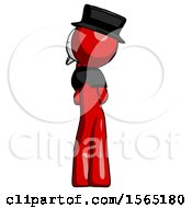 Red Plague Doctor Man Thinking Wondering Or Pondering Rear View