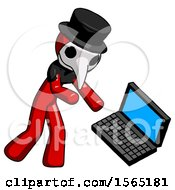 Red Plague Doctor Man Throwing Laptop Computer In Frustration