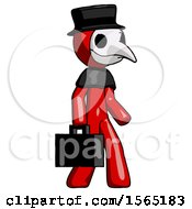 Red Plague Doctor Man Walking With Briefcase To The Right