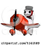 Red Plague Doctor Man Flying In Geebee Stunt Plane Viewed From Below